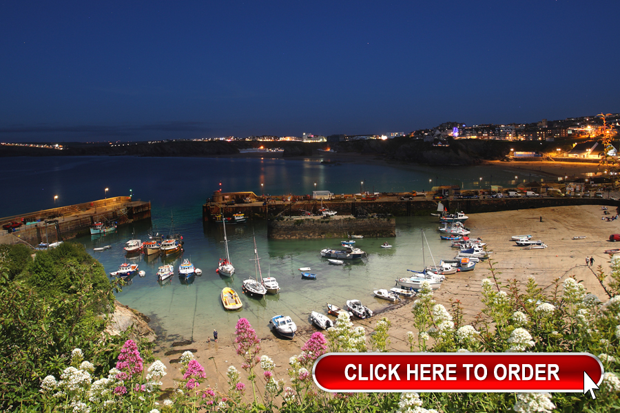 Newquay Harbour night and day
