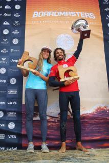 wsl longboard 2017 winners justine dupont and antoine delperro. by jason feast