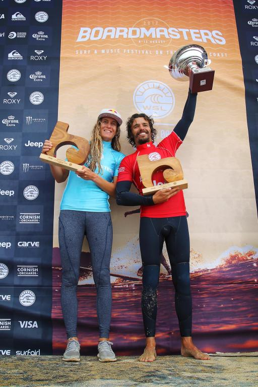 wsl longboard 2017 winners justine dupont and antoine delperro. by jason feast